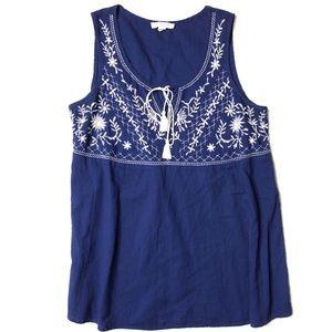 BeachLunchLounge Embroidered Sleeveless Blouse